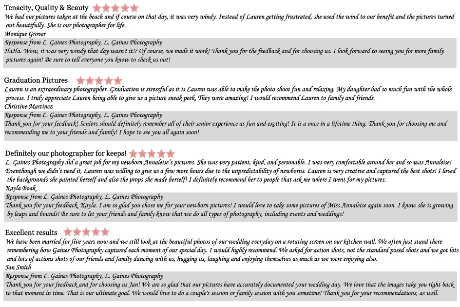 Client Reviews-Conroe Photographer